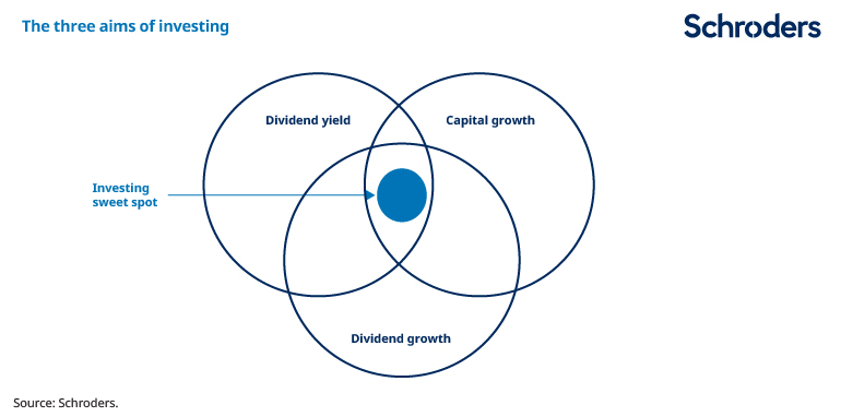 graphic highlighting the investment sweet spot which sits in the middle of dividend yield and growth and capital growth