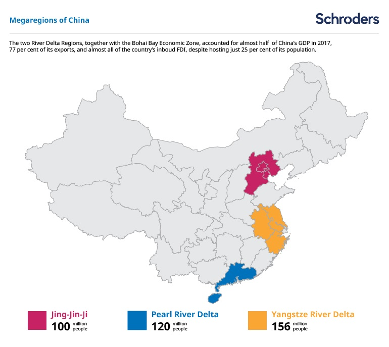 Map showing where China's meta cities are located