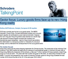 Schroders luxury goods focus on Hong Kong retailers