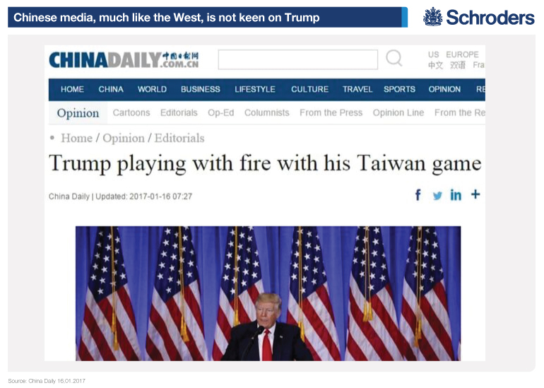 Image illustrating the Chinese media's view of Trump