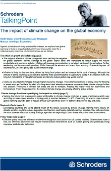 Screenshot of page 1 Schroders report on the impact of climate change on the global economy